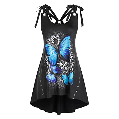 Womens Sexy Cami Tank Tops,Summer Sleeveless Plus Size Top Casual Butterfly Printed Blouses Tie...
