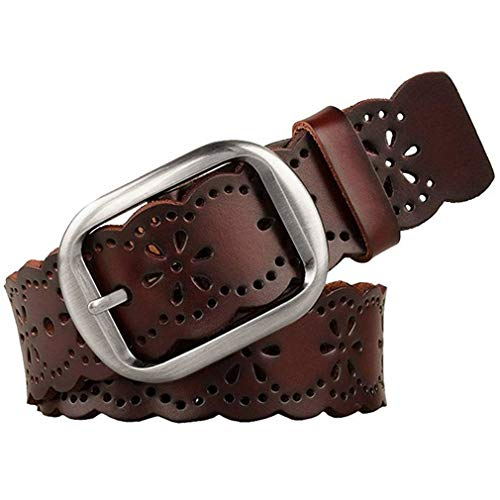 JASGOOD Women's Hollow Flower Genuine Cowhide Leather Belt With Alloy Buckle needs dark brown and...