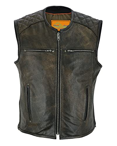Men's Motorcycle Riding Retro Brown Leather Vest Diamond Design. BUTTER SOFT LEATHER (52)