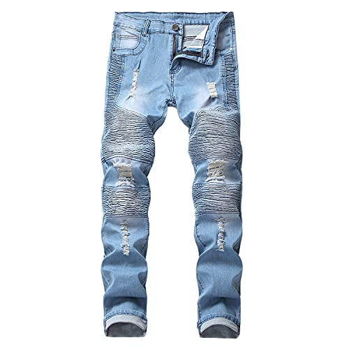 Men's ripped Slim Fit Washed Pencil Jeans Distressed Hole Tapered Leg Denim Pants Stretch Skinny...