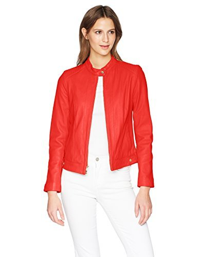 Cole Haan Women's Smooth Lamb Racer Jacket, red, LARGE