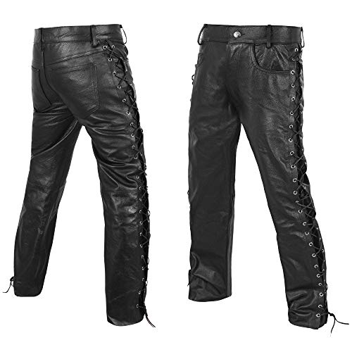 DEFY Men's Thick Cowhide Genuine Leather Full Grain Motorcycle Side Laces Leather Pants (42) Black