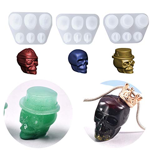 3Pcs Skull Pendant Epoxy Resin Silicone Molds Casting Mold Jewelry Making Tools for DIY Craft...