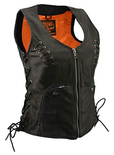 Milwaukee Leather MLL4575 Women's Black Leather Vest with Side Laces - Large