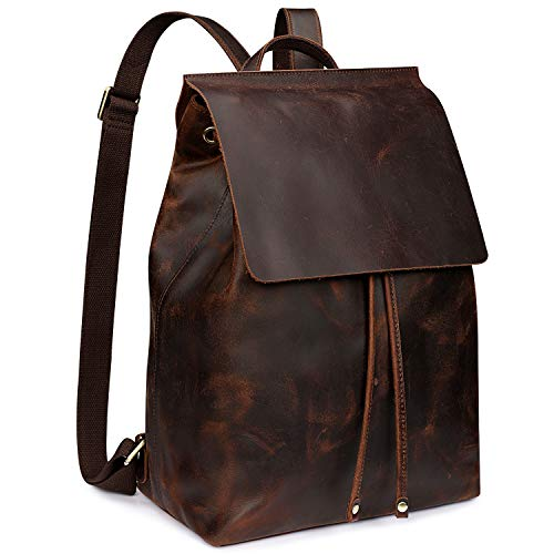 S-ZONE Women Vintage Genuine Leather Backpack Fashion Rucksack Schoolbag Travel Daypack with Luggage...