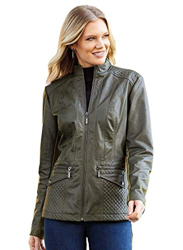 AmeriMark Women's Faux Leather Jacket with Front Zipper and Quilted Shoulders Olive 5X