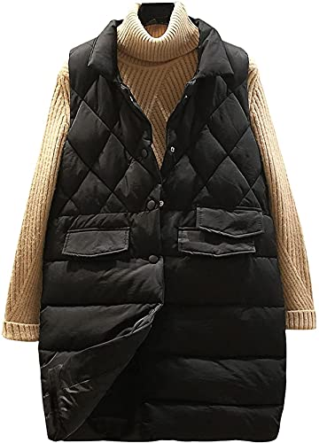 Women's Warm Quilted Puffer Vest Button Down Lapel Padded Gilet