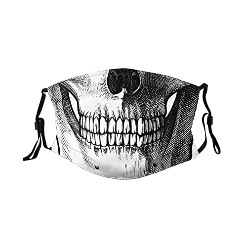 Face Mask Cool Skull with 6 Filter, Breathable Adjustable Filters Mask Balaclava for Men Women &...