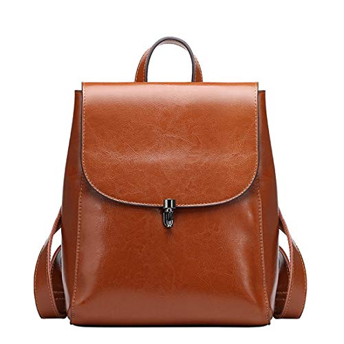 Heshe Women's Leather Backpack Casual Style Flap Backpacks Daypack for Ladies (Brown)