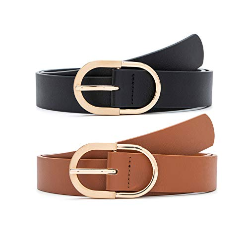 MORELESS 2 Pack Women's Leather Belts for Jeans Pants with Fashion Center Bar Buckle Black and Brown...