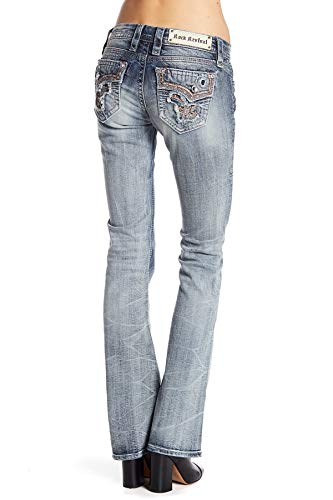 Rock Revival Betty B19 Bootcut Jeans Faded Stretch Flap Pocket (27)