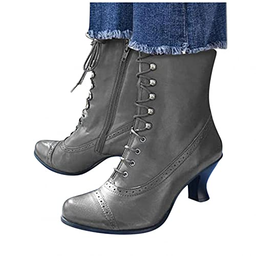 Niceast Cowboy Boots for Women Vintage Splicing Riding Boots Winter Casual High Heels Middle Tube...