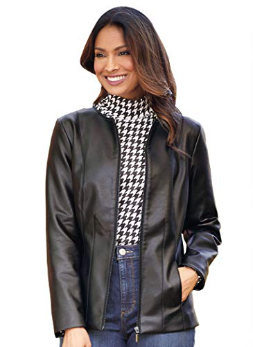 Faux Leather Bomber Jacket with Removable Sherpa Collar Front Zip Black 4X