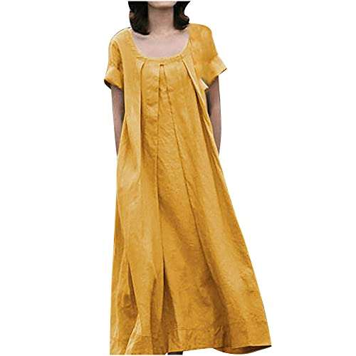 Akklian Summer Dress for Women Pleated Solid Color Crewneck Short Sleeve Tank Dress Loose Fit Casual...