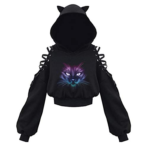Cat Ear Hoodies for Women Teen Girls Cute Trendy Gothic Crop Tops Lace Up Long Sleeve Cold Shoulder...