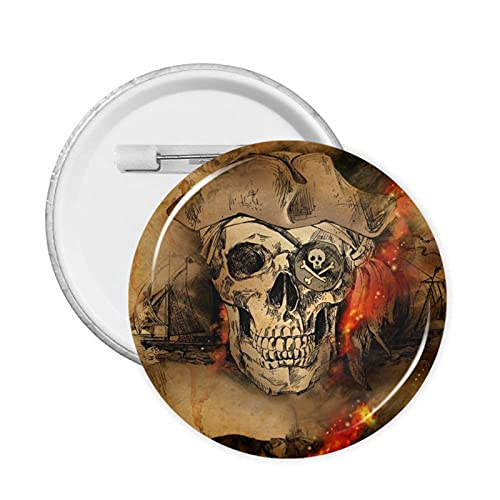 The Skull of A Pirate Round Badge Pin Button Decoration for Clothes Bags Hats Or Party Supplies