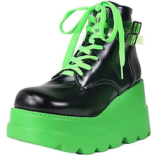 Womens Ankle Boots, Lace Up Zipper Punk Wedge High Heel Platform Gothic Combat Boots