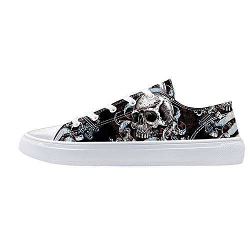 FIRST DANCE Unisex Skulls Print Canvas Shoes for Men Women Lace Up Fashion Sneakers Custom Shoes 8US...