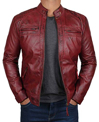 BlingSoul Red Leather Jacket for Men   [1100101] Johnson Real Maroon, XS