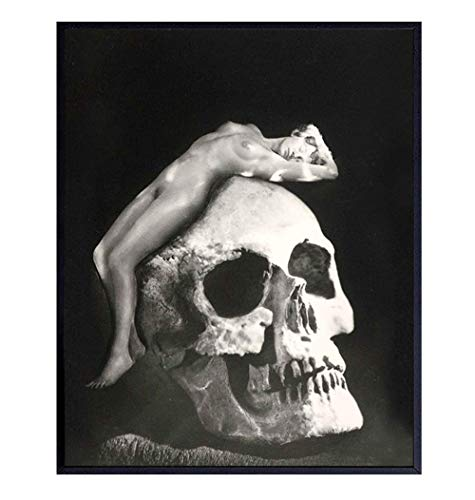 Goth Gothic Home Decor, Wall Art - Creepy Vintage Skull Nude Naked Woman Photo for Living Room,...