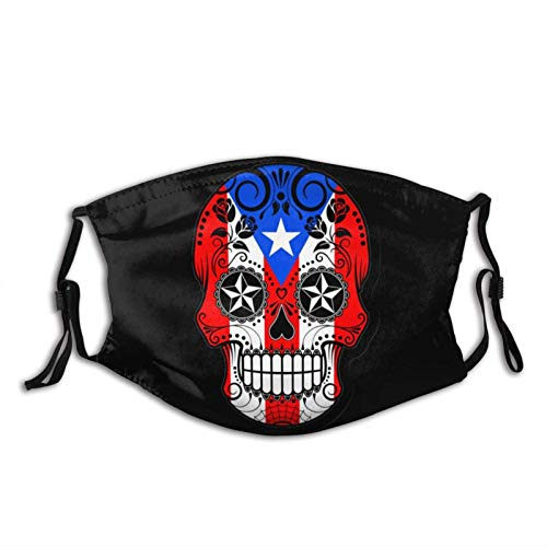 Puerto Rico Flag Sugar Skull Face Mask, Breathable|Washable-with 2 Filter for Adult|Teens-Anti Dust...