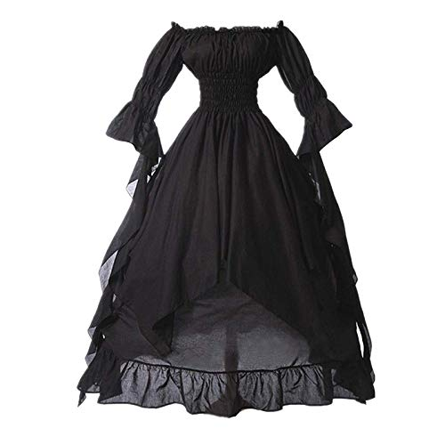 SHOPESSA Women's High Low Victorian Dress Puff Sleeve Off Shoulder Ruffle Medieval Costume for Women...