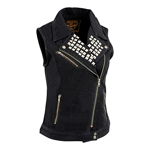 Milwaukee Leather MDL4030 Ladies Zipper Front Black Denim Vest with Studded Spikes - X-Small