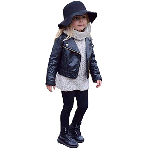 GLIGLITTR Toddler Baby Boy Girl Motorcycle Faux Leather Jackets Coat Winter Outwear for 1-5Y (Black,...