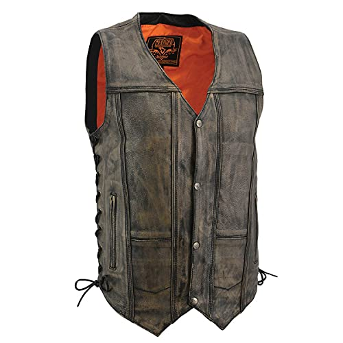 Milwaukee Leather MLM3540 Men's Distressed Brown 10 Pocket Leather Vest - X-Large