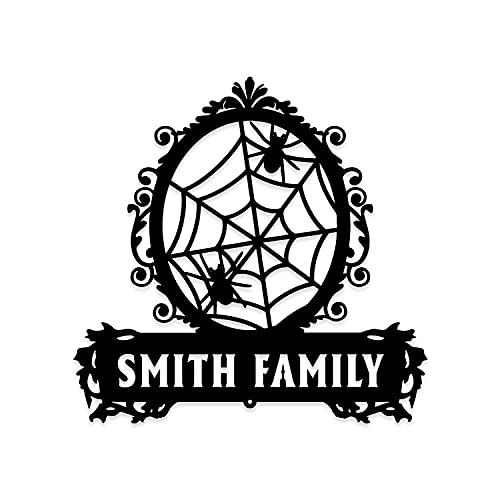 WOAH WOAH BUY 1 GET 1Personalized Family Gothic Mirror Frame Spiderweb Metal Wall,Decorations...
