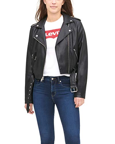 Levi's Women's Faux Leather Belted Motorcycle Jacket (Standard and Plus Sizes), Black, X-Large