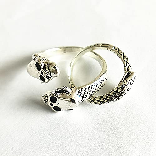 Skull snake double opening stainless steel men's ring and ring jewelry