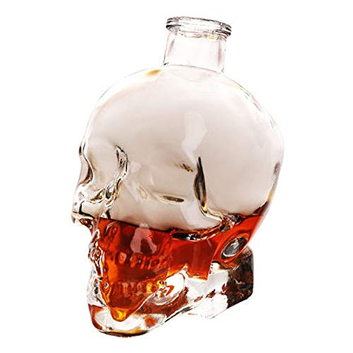 GAOXIAOMEI Whiskey Decanter Crystal Skull Head Vodka Shot Whiskey Wine Drinking Glass Bottle...