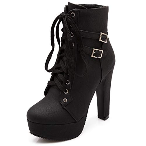 Susanny Women Autumn Round Toe Lace Up Ankle Buckle Chunky High Heel Platform Knight Black Martin...