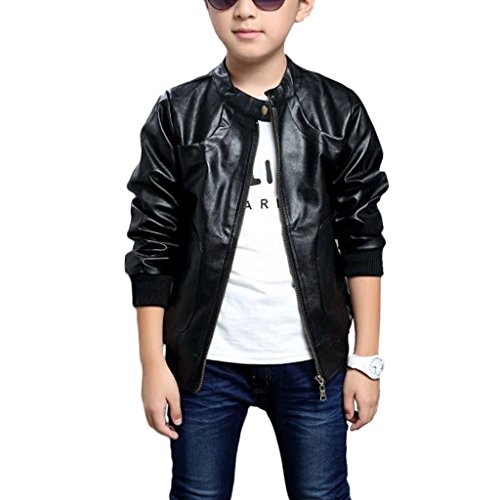 Chinaface Boy's Trendy Stand-Collar PU Leather Spring Moto Jacket Black, 7/8T