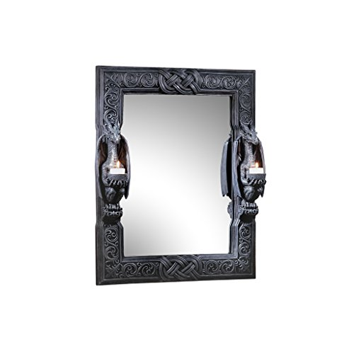 Design Toscano CL2429 Thorne Twin Sentinal Dragons Gothic Decor Wall Mirror Sculpture with Candle...