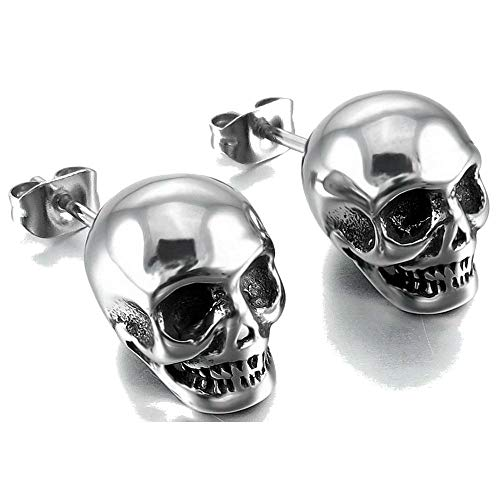 Retro Vintage Stainless Steel Skull Gothic Death Halloween Party Stud Earrings (Silver)