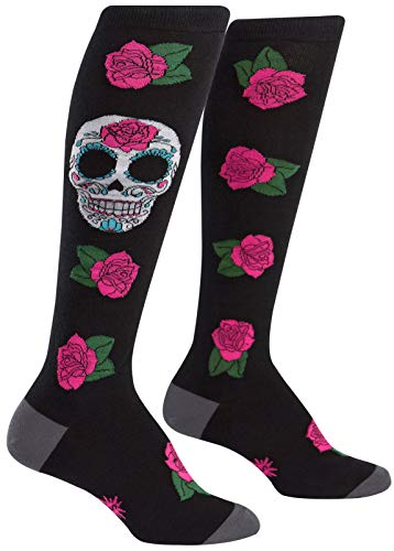 Sock It To Me Womens Knee High Funky Socks - Day Of The Dead Sugar Skull,Multi-color,5-10