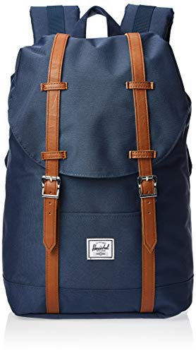 Herschel Retreat Backpack, Navy/Tan Synthetic Leather, Mid-Volume 14.0L