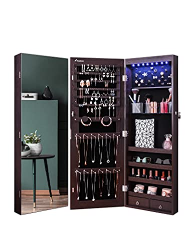 Nicetree 8 LED Mirror Jewelry Cabinet, Jewelry Armoire Organizer with Full Screen Mirror, Wall/Door...