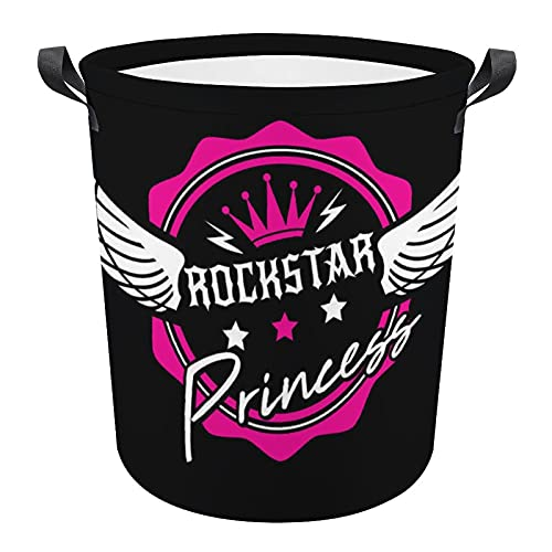 Gift For Rock And Roll Fans Rockstar Princess Collapsible Laundry Hamper Oxford Durable Cylindrical...