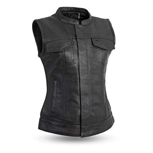 LADIES MOTORCYCLE LEATHER CLUB VEST. BUTTER SOFT THICK LEATHER (M)