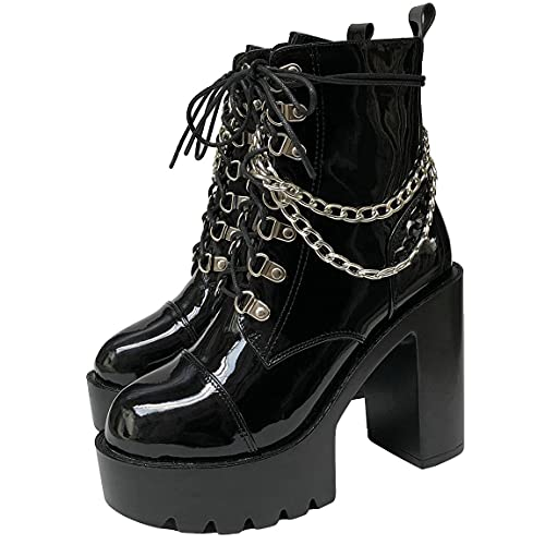 Trendenzy Women's Chain Goth Platform Boots Lace Up Chunky High Heel Combat Ankle Booties(Black,US...