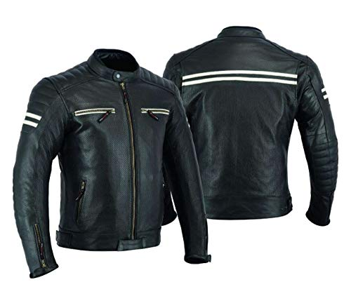 MOTORCYCLE LEATHER JACKET FOR MEN WITH ARMOR BIKERS RIDING PROTECTIVE ARMORED PERFORATED BLACK...