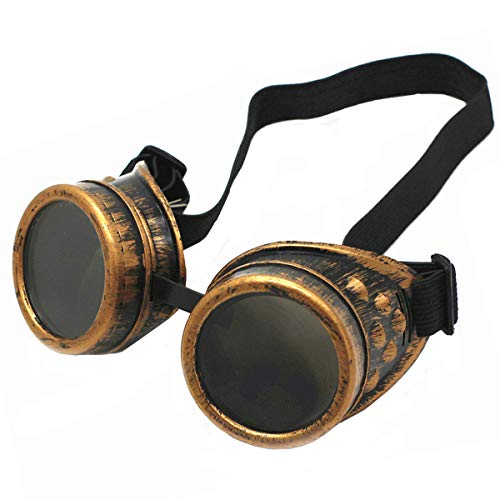WEICHUAN New Sell Vintage Steampunk Goggles Glasses Cosplay Punk Gothic(purple bronze)