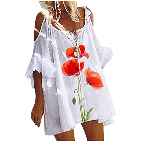 Summer Dress for Women Cold Shoulder Short Lace Sleeve, Floral Loose Fit Casual Tank Dress Beach...
