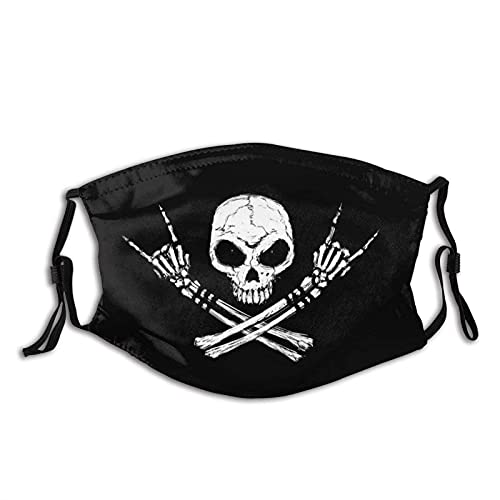 Reusable Cloth face mask Cool Skull face mask with Filter Washable Balaclava Black