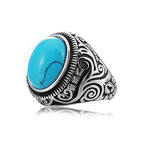 MZC Jewelry Synthetic Blue Turquoise Ring Size 8 Stainless Steel Vintage Oval Statement Biker Band...
