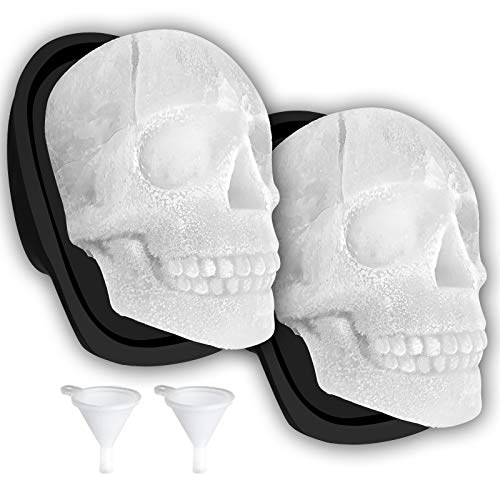 Extra Large 3D Skull Ice Cube Mold Silicone Ice Molds for Whiskey Skull Ice Cube Trays with Funnel...
