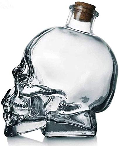 KPTKP Crystal Skull Wine Bottle, Whiskey Decanter, Hand Blown Lead-Free Thick Glass with Cork, Gifts...